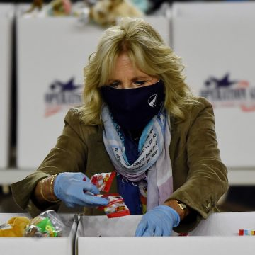 Dr Jill Biden assembles Christmas care packages for troops in first appearance since op-ed row