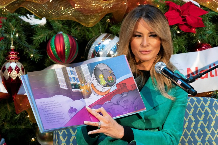 Melania Trump removes mask during book reading at children's hospital